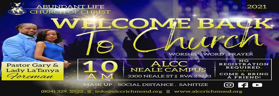 Welcome Back to Church - ALCC Summer 2021 - Web Slide
